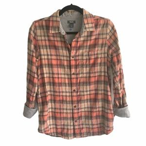 ROOTS Plaid Flannel Button Down Shirt XS